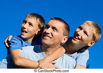 pai, com, filhos