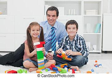 pai, com, seu, crianças