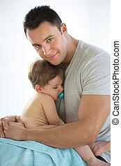 pai, confortos, bebê