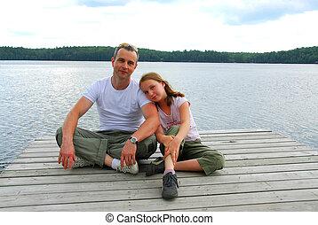 pai, criança, lago