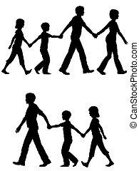 pai, crianças, liderar, cachorro familiar, passeio, mãe, casual