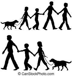pai, crianças, liderar, cachorro familiar, passeio, mãe, ...