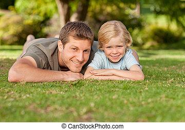 pai, e, seu, filho, parque