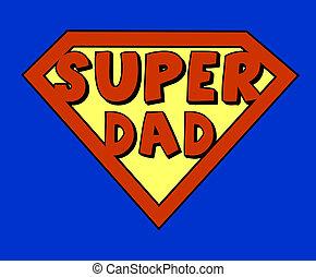 pai, engraçado, super, escudo