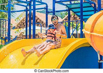 pai, escorregar, parque, água, filho
