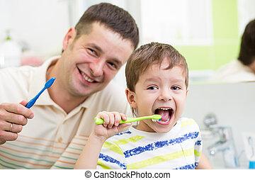 pai, escovar, banheiro, filho, dentes, criança
