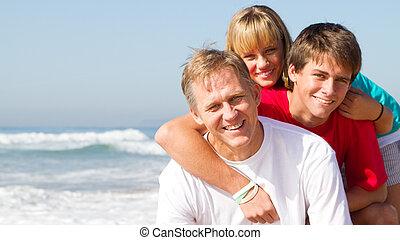 pai, família, um