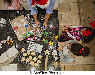 pai, fazendo biscoitos, natal