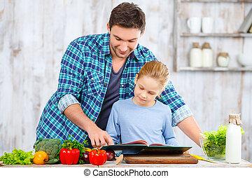 pai, feliz, junto, filha, cozinhar