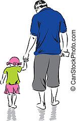 pai filha, ilustração, fa
