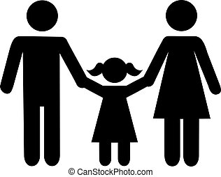 pai, filha, mãe, ícone