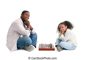 pai, filha, partida xadrez