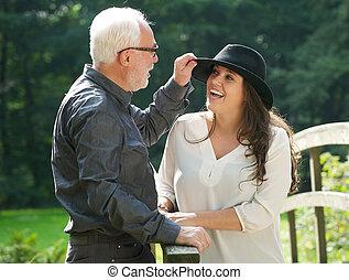 pai, filha, rir, junto