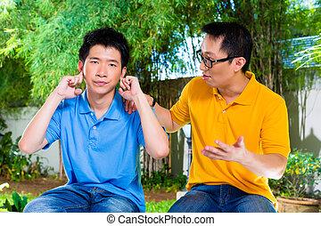 pai, filho, algum, seu, chinês, dá, conselho