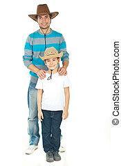 pai filho, com, cowboy's, chapéu