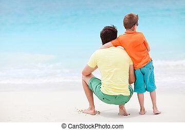 pai filho, em, praia