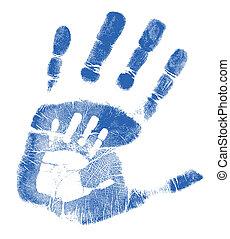 pai, filho, handprints