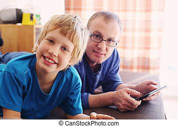 pai filho, jogos jogo, ligado, tabuletas