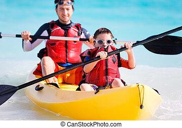 pai filho, kayaking
