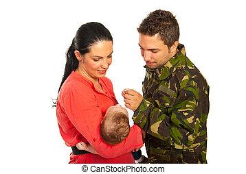 pai, filho, seu, militar, reunião, primeiro