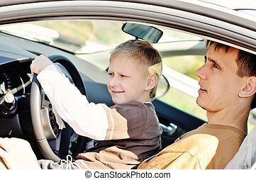 pai filho, um carro