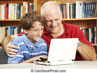 pai filho, uso, netbook, computador