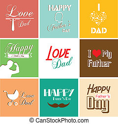 pai, fonte, dia, cartão, feliz