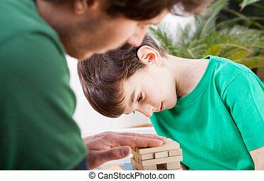 pai, gastando, tempo, junto, filho