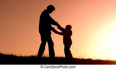 pai, gire, filho, pôr do sol