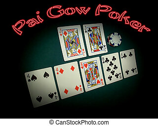 pai, gow, 扑克牌, 氖