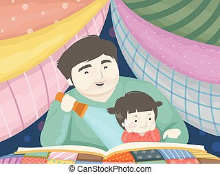 pai, história, ilustração, contar, menina, toddler