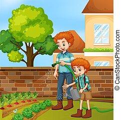 pai, jardinagem, filho