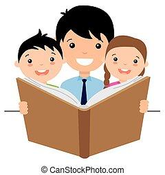 pai, lendo uma história, para, dela, crianças