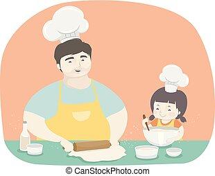 pai, menina, assando, ilustração, criança