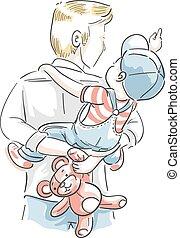 pai, menino, passeio, costas, ilustração, piggy, criança