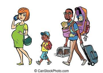 pai, multi, crianças, família, viajantes, mãe, étnico