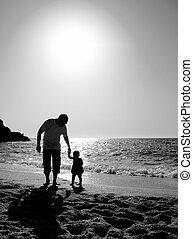 pai, praia, filha, pôr do sol, tocando