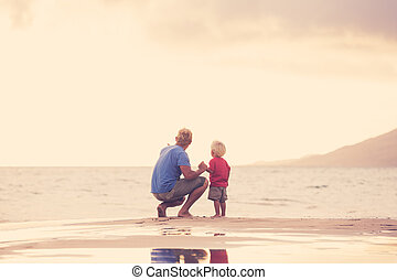 pai, praia, filho, wallking