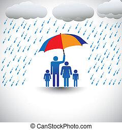 pai, protegendo, família, de, chuva pesada, com, umbrella., a, gráfico, representa, pai, segurando, um, coloridos, guarda-chuva, cobertura, seu, família, que, inclui, seu, esposa, &, children(concept, de, importar-se, amor, etc)