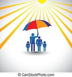 pai, protegendo, família, de, quentes, sol, com, umbrella., a, gráfico