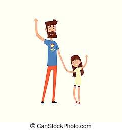 pai, seu, herói, ilustração, waving, vetorial, fundo, mãos, filha, branca, super