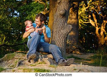 pai, seu, parque, filho