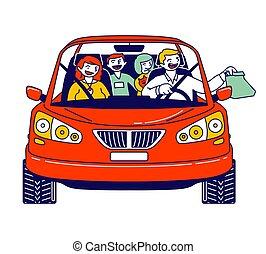 pai, takeaway, mãe, alimento, montando, caráteres, vetorial, automobile., família, dentro, rapidamente, crianças, enquanto, ilustração, linear, comprando, conduzir, sentando, pessoas, serviço, refeição, usando, thru, car, feliz, levando, travel.