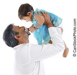 pai, tocando, com, filha