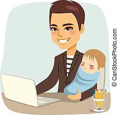pai, trabalhando, com, bebê