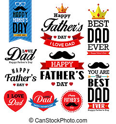 pai, typographical, dia, fundo, feliz