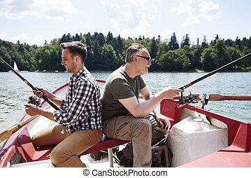 pai, vara, barco pesca, filho