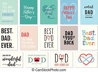 pai, vetorial, jogo, dia, cartões