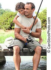 pai, viagem, pesca, filho