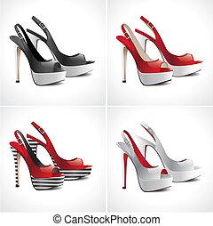 paia, set, scarpe, sandali, 4
